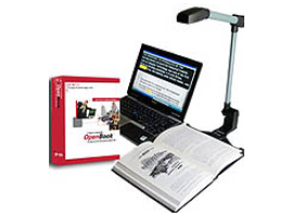 OpenBook and PEARL portable scanning and reading solution magnifying a book on laptop.