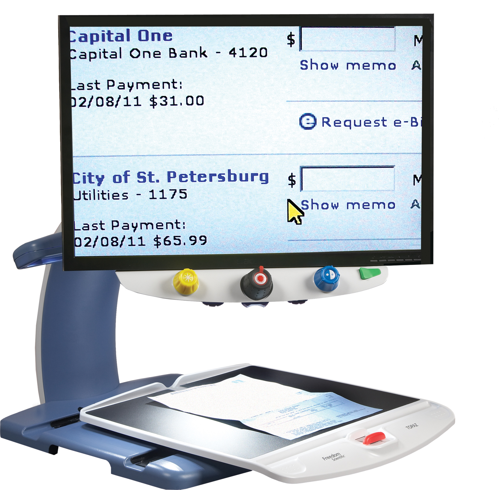 Topaz magnifier helping with bank statement
